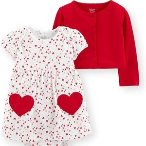 Carter's Valentine's Day Dress and Cardigan 6 mos.